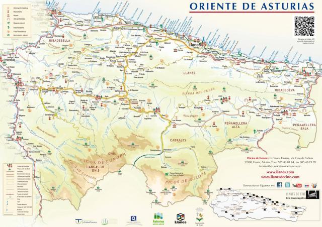 Mapa Costa De Asturias.Mapa Del Oriente De Asturias Llanes Costa De Los Picos De